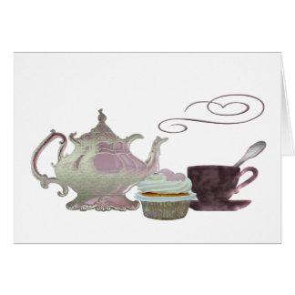 Pink Teapot, Teacup and Cupcake Art Card