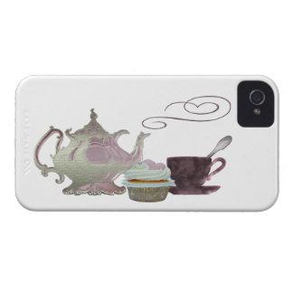 Pink Teapot, Teacup and Cupcake Art iPhone 4 Case-Mate Case