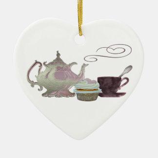 Pink Teapot, Teacup and Cupcake Art Ceramic Ornament
