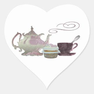Pink Teapot, Teacup and Cupcake Art Heart Sticker