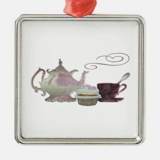 Pink Teapot, Teacup and Cupcake Art Metal Ornament
