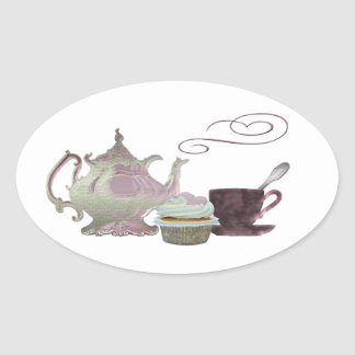 Pink Teapot, Teacup and Cupcake Art Oval Sticker