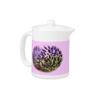 Pink Teapot with Lavender Plants