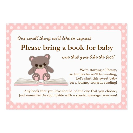 Pink Teddy Baby Shower Book Insert Request Card
