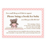Pink Teddy Baby Shower Book Insert Request Card Large Business Cards (Pack Of 100)
