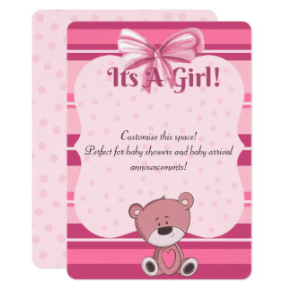 Pink Teddy Baby Shower Invitation/ Anouncement Card