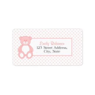 Pink Teddy Bear Address Labels