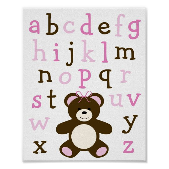 Pink Teddy Bear Alphabet Nursery Wall Art Print