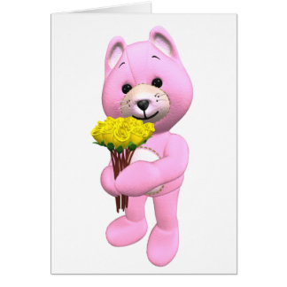 Pink Teddy Bear and Yellow Roses Greeting Card