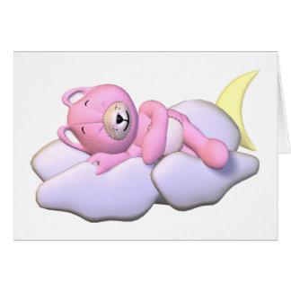 Pink Teddy Bear Asleep on Cloud Greeting Card