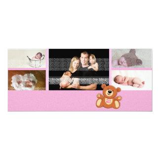Pink Teddy Bear Baby Announcement