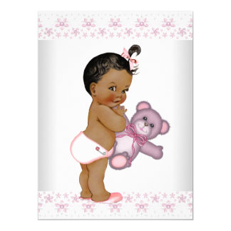 Pink Teddy Bear Baby Shower Card