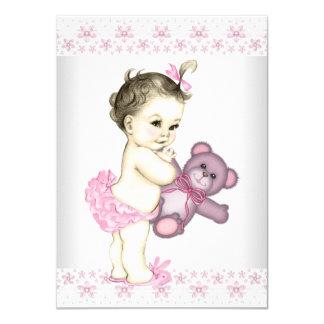 Pink Teddy Bear Baby Shower 4.5x6.25 Paper Invitation Card