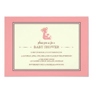 Pink Teddy Bear Baby Shower Invitations