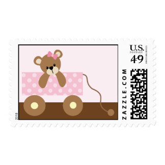 Pink Teddy Bear Baby Shower Postage