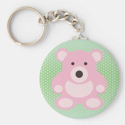 Pink Teddy Bear Basic Round Button Keychain