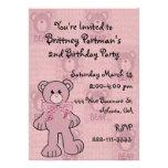 Pink Teddy Bear Birthday Invitation