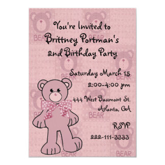 Pink Teddy Bear Birthday Invitation