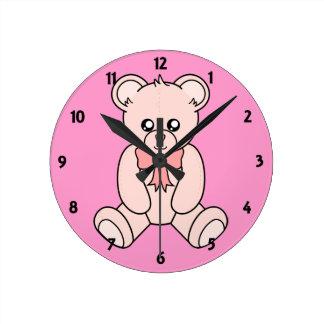 Pink  Teddy Bear Childrens Learning Wall Clock