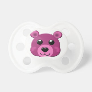 pink teddy bear face pacifier