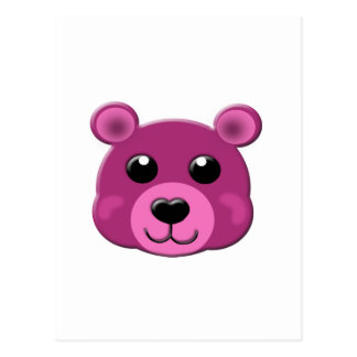 pink teddy bear face postcard