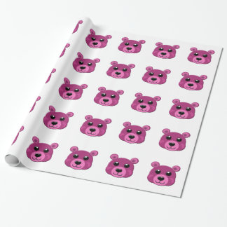 pink teddy bear face wrapping paper