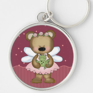 Pink Teddy Bear Fairy Princess Key Ring  Silver-Colored Round Keychain