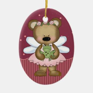 Pink Teddy Bear Fairy Princess Oval Ornament