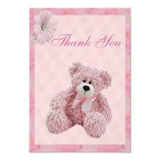 Pink Teddy Bear & Flowers Thank You Baby Shower Card