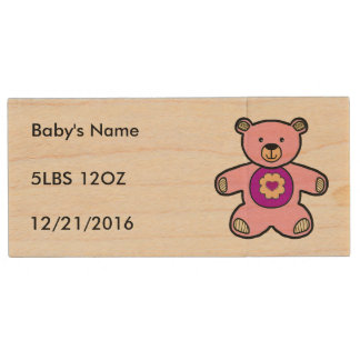 Pink Teddy Bear For Just Born Baby Girls Wooden Wood USB Flash Drive