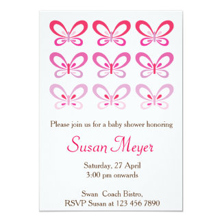 Pink Teddy Bear Heart Baby Invitation