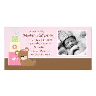 Pink Teddy Bear Photo Birth Announcement
