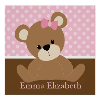 Pink Teddy Bear Poster