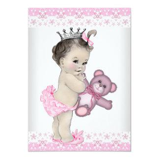 Pink Teddy Bear Princess Baby Shower 5x7 Paper Invitation Card