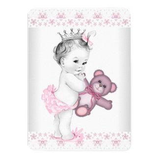 Pink Teddy Bear Princess Baby Shower 4.5x6.25 Paper Invitation Card