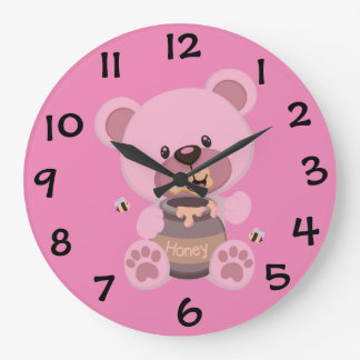 """PINK TEDDY BEAR"" ROUND WALL CLOCK"