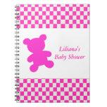 Pink Teddy Bear Shower Notebook