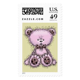 Pink teddy bear stamp