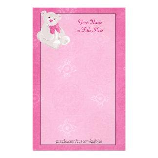 Pink Teddy Bear Stationary Stationery