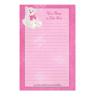 Pink Teddy Bear Stationery