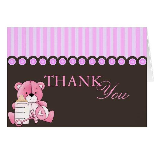 Pink Teddy Bear Thank You Card