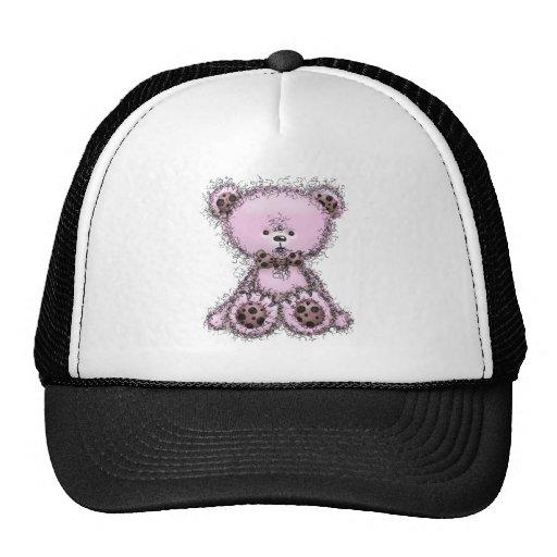 Pink teddy bear trucker hats