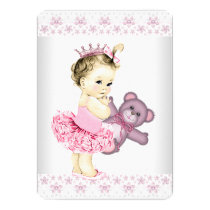 Pink Teddy Bear Tutu Princess Baby Shower Card