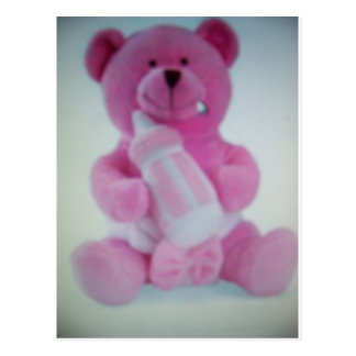 Pink teddy bear with bottle postcard