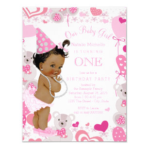1st birthday 425 x55 invitations zazzle pink teddy bears hearts girls 1st birthday party invitation stopboris Images