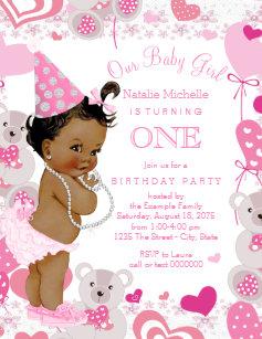 1st birthday 425 x55 invitations zazzle pink teddy bears hearts girls 1st birthday party invitation stopboris Choice Image