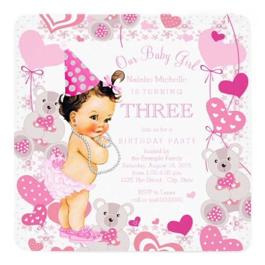 Pink Teddy Bears Hearts Girls 3rd Birthday Party Invitation Zazzle