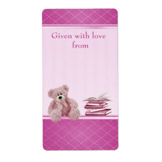 Pink Teddy Bring a Book Baby Shower Bookplates Label