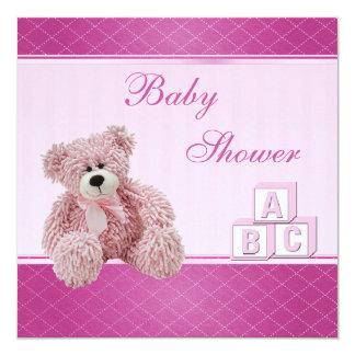 Pink Teddy & Building Blocks Baby Girl Shower Card