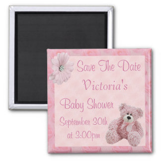 Pink Teddy Save the Date Girl Baby Shower Magnet
